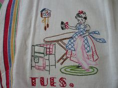 Hand Embroidered Dish Towel  $20