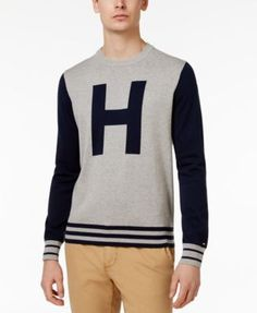 TOMMY HILFIGER Tommy Hilfiger Men'S Colorblocked Varsity-Inspired Cotton Sweater. #tommyhilfiger #cloth # sweaters