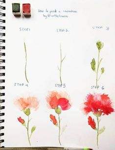 Easy Watercolor Flowers Step by Step Tutorial. Learn how to paint these lovely florals with a detailed step by step lesson from Torrie of Fox + Hazel. Easy Watercolor Flowers Step by Step Tutorial Great little watercolor project for beginners with helpful Watercolor Flowers Tutorial, Step By Step Watercolor, Watercolor Tips, Watercolor Painting Techniques, Watercolour Tutorials, Flower Tutorial, Painting & Drawing, Watercolor Paintings, Drawing Step