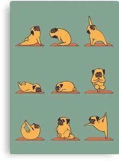 'Pug Yoga' Canvas Print by Huebucket - Sweet Pugs Pug Art, Iphone 6 Wallpaper, Pug Wallpaper, Animal Wallpaper, Canvas Prints, Art Prints, Pug Love, How To Do Yoga, Yoga Inspiration