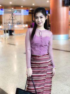 Traditional Thai Clothing, Myanmar Traditional Dress, Traditional Dresses, Batik Dress, Silk Dress, Dress Skirt, Myanmar Dress Design, Sunday Outfits, Thai Dress