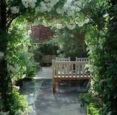 Create a secret garden: arbours Outdoor Rooms, Outdoor Gardens, Outdoor Living, Outdoor Decor, Porches, Landscape Design, Garden Design, Garden Features, White Gardens