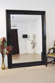 Reflex Extra Large Over Sized Floor to Wall Framed Mirror. Overall Size Including Frame - 170 x 109 x Mirror size - 151 x Matt White Large Black Mirror, Large Standing Mirror, Large Full Length Mirrors, Extra Large Mirrors, Large Framed Mirrors, Wall Mirror, Full Length Mirror Hallway, Floor Mirrors, Living Room Mirrors
