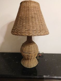 ANTIQUE WICKER TABLE LAMP U0026 SHADE MISSION ART U0026 CRAFTS VINTAGE OLD NICE  #ArtsCraftsMissionStyle