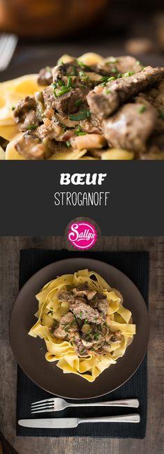 Das Bœef Stroganoff sind kurzgegarte Filetspitzen in einer sauren Rahmsoße. Ein Gericht aus der russischen Küche, welches sehr festlich ist! Dazu passen vor allem Nudeln, aber auch Salzkartoffeln, Knödel oder Reis.