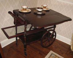 Antique Imperial Style Mahogany Tea Cart circa 1930