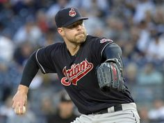 Cleveland Indians pitcher Corey Kluber delivers to the New York Yankees. Monday, Aug. 28, 2017, at Yankee Stadium in New York. (AP Photo/Bill Kostroun). Indians won 6-2
