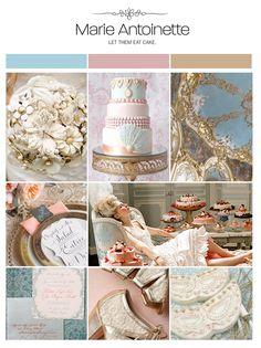 Marie Antoinette wedding inspiration board, color palette, mood board via Weddings Illustrated