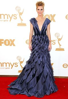 Glee's Heather Morrison in this amazing ruffled V-neck gown at the Emmys 2011.
