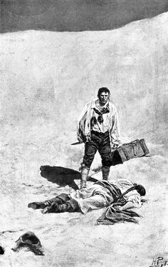 """He lay silent and still, with his face half buried in the sand. From 'Blueskin, the Pirate', """"Howard Pyle's Book of Pirates"""" (1921)"""