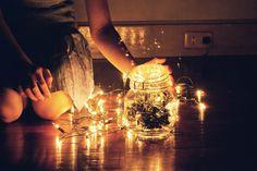 X-mas lights in jars