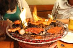 Yakiniku is sliced meat that you cook yourself at the table. One of our favourites!