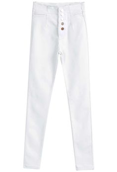 Shop White Buttons Silm Denim Pant online. Sheinside offers White Buttons Silm Denim Pant & more to fit your fashionable needs. Free Shipping Worldwide!