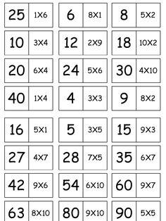 Domino tablas de multiplicar