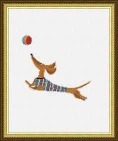Dog Cross stitch pattern Dachshund pdf pattern Embroidery
