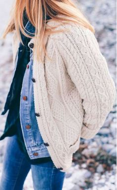 This cardigan is so cute over this denim jacket for the winter