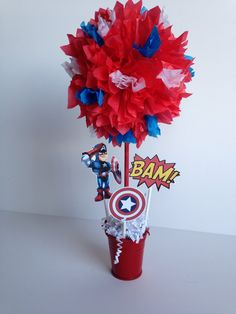Captain America, Super Hero birthday party decoration, centerpiece, centerpieces by AlishaKayDesigns on Etsy https://www.etsy.com/listing/176826386/captain-america-super-hero-birthday