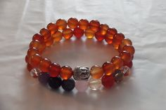 2x Carnelian , 7 Chakra Gemstone Healing Stretch Bracelets,Yoga Bracelet Set by HealingAuras on Etsy