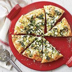 Three Cheese-and-Spinach Pizza Recipe | MyRecipes.com