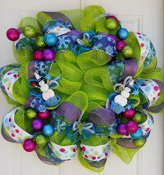 purple & lime christmas tree ornaments   Lime Green Snowman Ornament Christmas Mesh Wreath by dottiedot05