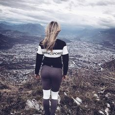 @justinegallice in our Black Sweater and Solid Grey Tights with a fantastic view  #bringsportswear