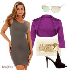 Instant Figure Tank Dress  shopzerouv OVERSIZE THIN CROSS BROW MIRRORED FLAT LENS SUNGLASSES   PinUp Girl Clothing Shrug in Purple  Mod Cloth Get In Touch With Your Helix Belt in Gold  DASH Clothing Kendall + Kylie The Essie heels