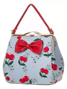 Cherry and Floral Print Red Bow Clutch Bag Handbag by Banned Rockabilly Blue for sale Vintage Purses, Vintage Bags, Vintage Handbags, Retro Vintage, Vintage Shoes, Vintage Clothing, Mini Handbags, Purses And Handbags, Novelty Handbags
