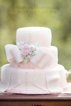 pink bridal shower cake or do your wedding colors!