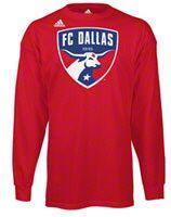 FC Dallas Red adidas Team Logo Long Sleeve T-Shirt