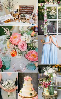 spring summer shabby chic wedding ideas and sky blue bridesmaid dresses styles