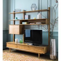 Solid oak vintage TV shelf unit W 180cm