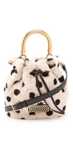 Marc by Marc Jacobs Too Hot To Handle Fur Little Drawstring Bag in dyed rabbit, leather with metal handles Fashion Bags, Fashion Backpack, Fashion Accessories, Womens Fashion, Fashion Clothes, Womens Designer Bags, Jewelry Candles, Gold Purses, Jacob Black