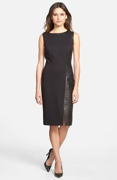 Classiques Entier® Ponte & Leather Sheath Dress available at #Nordstrom