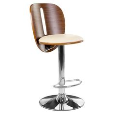 Bar Chair, Bentwood / Cream Leather  | ACHICA