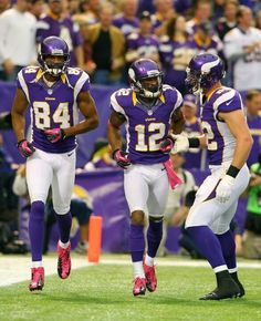 Michael Jenkins (left) Percy Harvin (middle) Kyle Rudolph (right) Michael Jenkins, Percy Harvin, Best Football Team, Minnesota Vikings, Football Helmets, Supreme, Pride, Middle, Gay Pride
