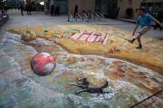 On the beach with the dog - Julian Beever