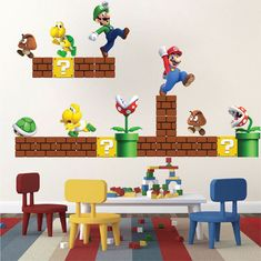 Super Mario Bros Wall Decals Design Video Game Wall Mural Vinyl Removable Home Bedroom Decor Game Room Wall Sticker For Kids Apartment Super Mario Room, Super Mario Birthday, Mario Birthday Party, Super Mario Party, Wall Mural Decals, Custom Wall Decals, Yoshi, Mario Bros., Game Mario Bros