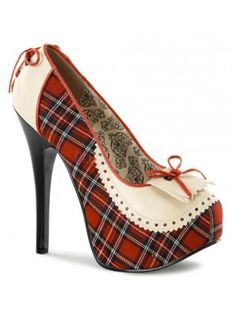 Red Plaid Platform Pumps by Bordello Shoes. Red plaid platform pumps with cream PU contrast, penny-loafer style fringe and corset laced heel detail. These closed toe Bordello pumps have a stiletto heel and concealed platform. Platform High Heels, High Heel Pumps, Pump Shoes, Shoe Boots, Shoes Heels, Court Shoes, Black Platform, Prom Heels, Sexy Heels
