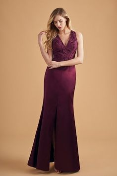 e4d1eb4db2b6 L204053 V-neck Lace   Marquis Satin Long Bridesmaid Dress