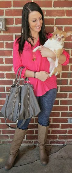 Outfit of the Day: Pink Chihuahua Polka Dots