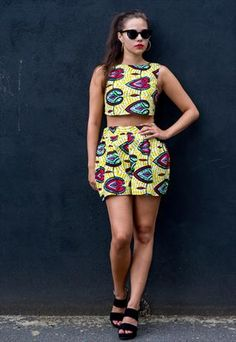 asos marketplace: african print crop top and skirt