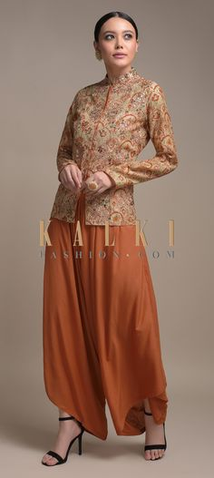 Buy Online from the link below. We ship worldwide (Free Shipping over US$100)  Click Anywhere to Tag  Orange Dhoti Suit In Cotton Paired With A Short Beige Kurti Having Scallop Print Online - Kalki Fashion  Orange dhoti suit in cotton paired with a short beige kurti in cotton.Enhanced with scallop jaal print. Salwar Kameez, Kurti, Pakistani Formal Dresses, Wedding Story, Anarkali Suits, Indian Wear, Lehenga, Pairs, Beige