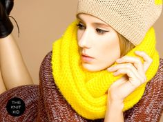 YELLOW infinity scarf circle loop snood cowl mohair by THEKNITKID, €80.00