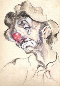 Tearful Hobo watercolor on paper by Shan Ungar ~ clown