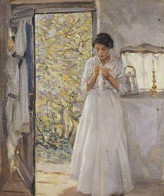 Helen McNicoll, The Open Door, c. 1913, oil on canvas, 76.2 x 63.5 cm, private collection. #ArtCanInstitute #CanadianArt