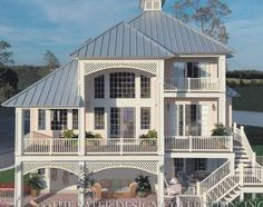 """Rear Elevation. The Sater Design Collection's luxury, cottage home plan """"Santa Rosa"""" (Plan #6808). Coastal House Plans, Beach House Plans, Cottage House Plans, Bedroom House Plans, Small House Plans, Cottage Homes, Beach House Decor, Modern Ranch, Arched Windows"""