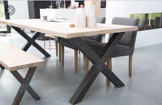 Eiken houten tafel wit gekalkt