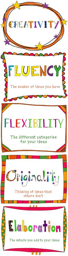 Creativity Components Posters: Fluency, Flexibility, Originality, Elaboration $