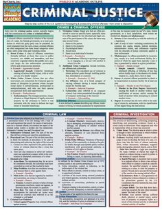 This guide contains the key information for any Criminal Justice course. This guide contains information on: Crimes & criminal offenses, criminal law Criminal Justice Major, Criminal Law, Criminal Justice System, Prison, Criminal Profiling, Criminal Procedure, Constitutional Law, Harvard Law, Paralegal