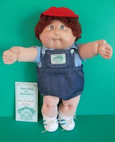 Cabbage Patch Boy Doll 1984 Coleco OK Auburn Loop Hair Hazel Eyes Birth Cert #Coleco #DollswithClothingAccessories